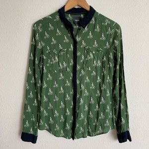 Maeve Anthropologie bicycle print button down